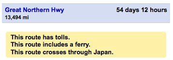 A screen shot of Google Maps directions showing a 54-day trip crossing through Japan