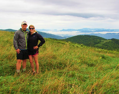 Ashleigh and husband Jay on Max Patch Bald