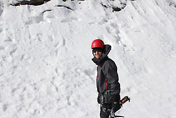 Jake Ice Climbing at Frankenstein Cliff, NH