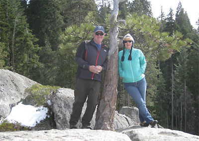 Al and his wife at the site of their marriage Beetle Rock, Sequoia NP.