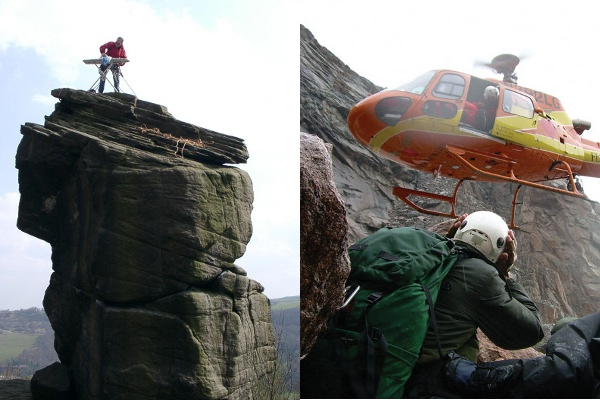 Extreme Ironing (Photo: Theredrocket) and Helicopter Rescue ( Photo: Flight for Life)