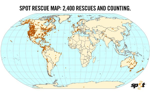 A map of SPOT rescues.