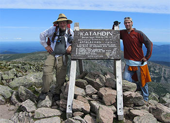 LoneStranger and Jon on top of Katahdin in Baxter State Park.
