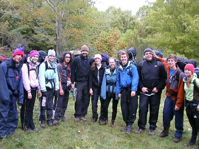 . In Little Wilson Creek Wilderness, VA, with the Westchester Country Day School Class of 2006 (fifth from left).