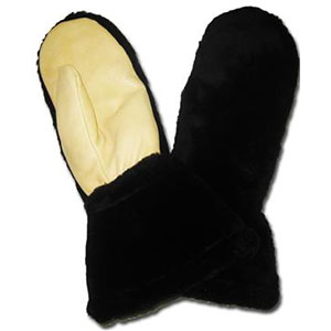Century Leather Products Black Pile Sno-Mitts