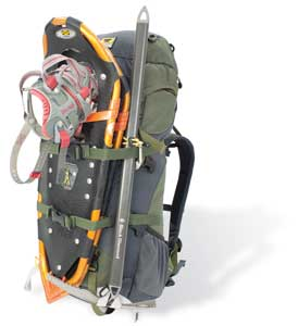 Winter pack with snowshoes strapped on
