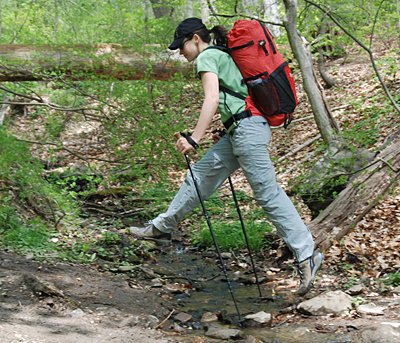 Trekking Poles Help Users Navigate Stream Crossings. (Photo: Seth Levy)