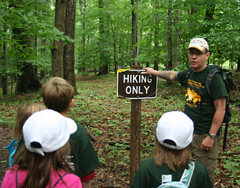 AHS' Peter Olsen leads a National Trails Day hike.